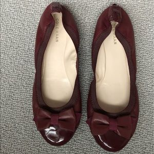 Cole Haan Burgundy Flats with Bows